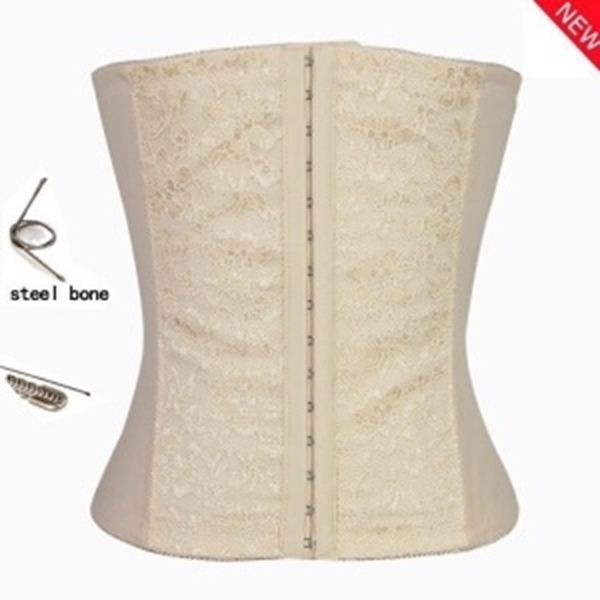 Picture of Beige Lace panel front Underbust Corset With Steel Bones