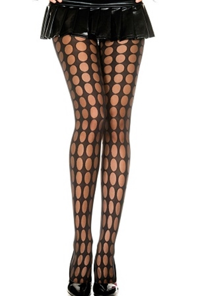 Picture of Black Sheer Pantyhose With Pothole Pattern