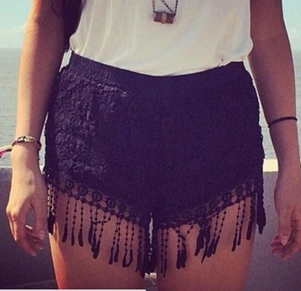 Picture of Crochet Lace Floral Summer Casual Shorts Short - Black