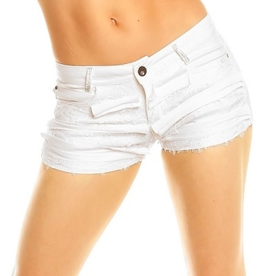 Picture of Diamante and lace white crop shorts