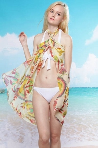 Picture of Beach Feather multi-coloured sarong chiffon