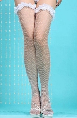 Picture of Fishnet thigh stockings - white