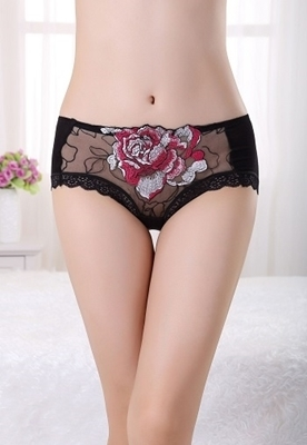 Picture of Floral Embroidered Lace Trim Panties - Black