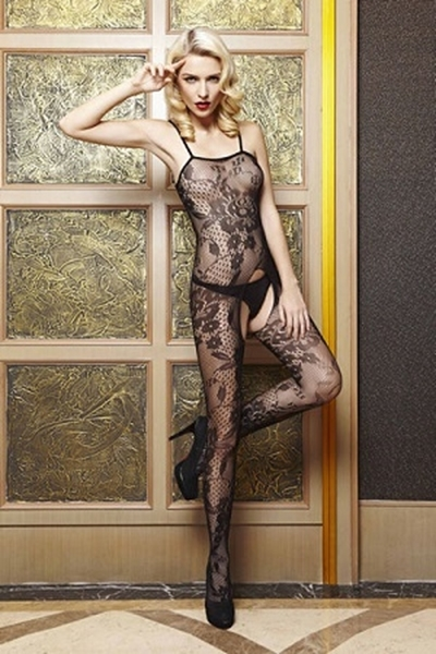Picture of Floral Open Crotch bodystocking