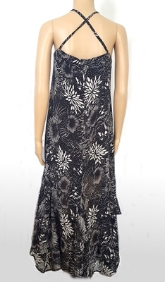 Picture of Frill halterneck chiffon long dress - Black Floral