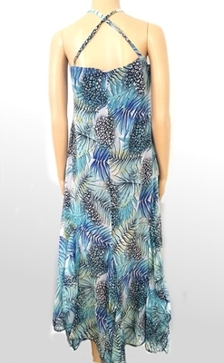 Picture of Frill halterneck chiffon long dress - Tropical Blue
