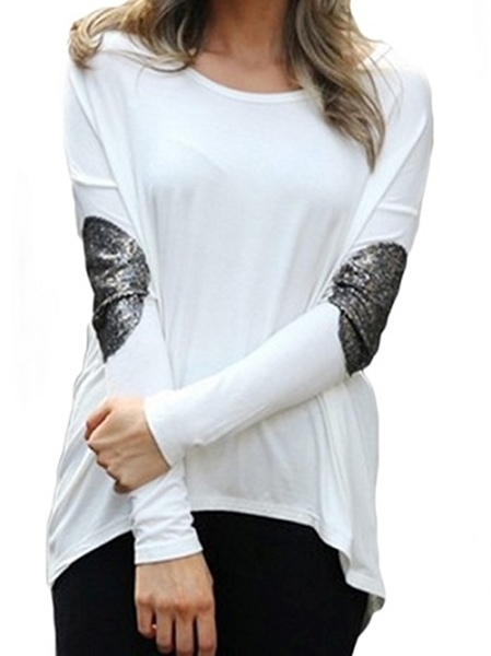 Picture of Hang back silver elbow mesh detail T-shirt - white
