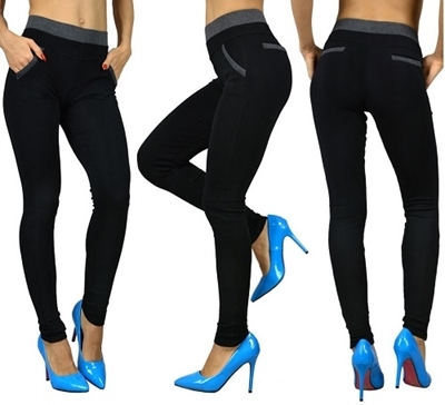 Picture of High Waist Black Legging with Contrast Waist Band