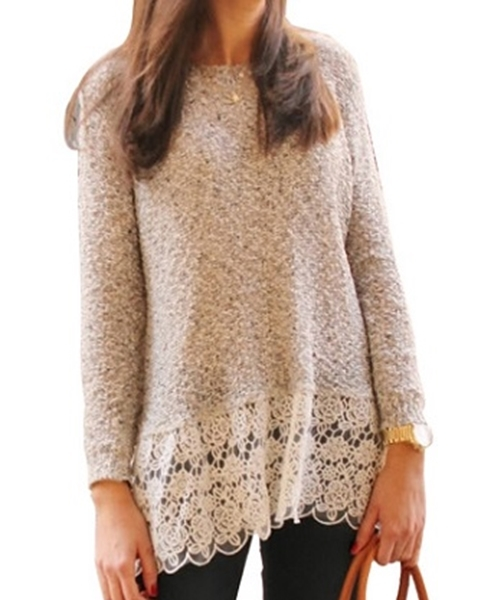Picture of Lace detail bottom jersey - off white / cream