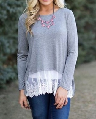 Picture of Lace detail bottom long tshirt - Grey