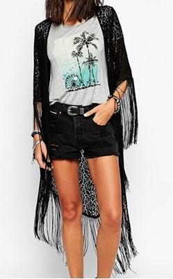 Picture of Lace Tasseled Longline Kimono
