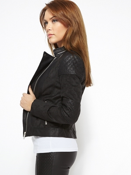 Picture of Leather and suede insert bomber jacket