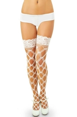 Picture of Multi Fence Net Thigh High with Lace Top