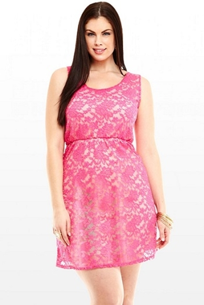 0cfbb0de1a Picture of Pink Lace Hollow Back Skater Dress