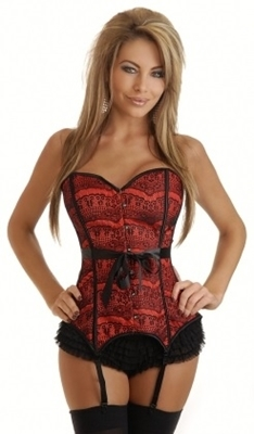 Picture of Red Lace Overlay Corset