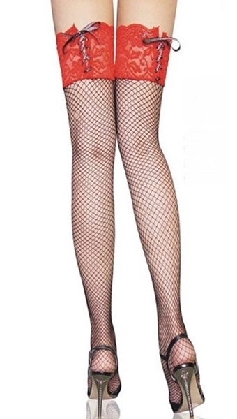 Picture of Red Lace top Fishnet Thigh high stockings