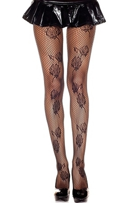 Picture of Rose Pattern Fishnet Pantyhose