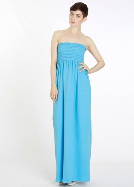 Picture of Strapless Bandeau Maxi Dress - Blue