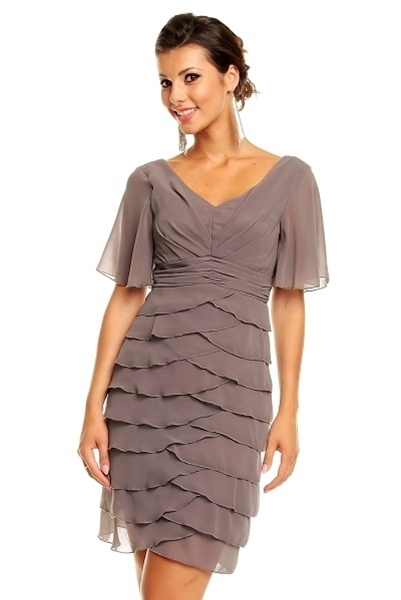 Picture of Ashleigh Drape Chiffon Grey Dress