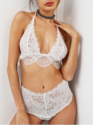 Picture of Scallop Trim Eyelash Lace Triangle Bra Set