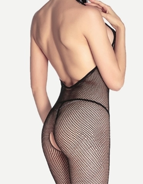 Picture of Black Lace Trim Halter Backless Fishnet Body Stocking