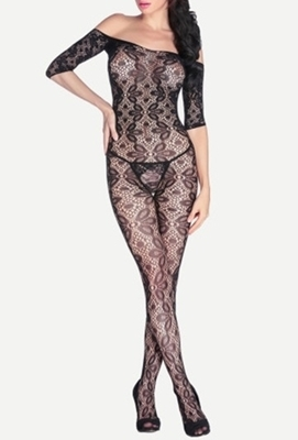 Picture of Black Floral Pattern Off The Shoulder Body Stocking