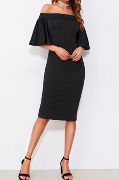 Picture of Flutter Sleeve Off Shoulder Split Back Dress