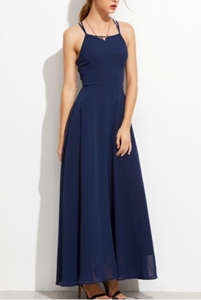 Picture of Navy Lace Up Back Cami Long Dress