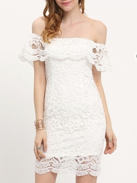 df42c7eba0 Picture of Off Shoulder White Lace Ruffle Bodycon short Dress