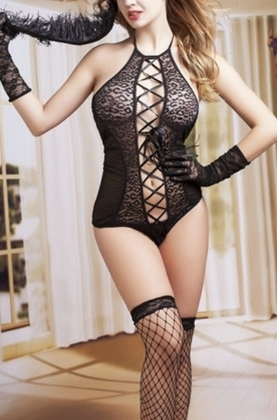 Picture of Animal print open front teddy 3 piece lingerie set