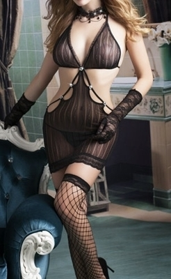 Picture of Sexy cut out mesh lingerie set (Incl stockings & gloves)