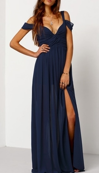 Navy Off The Shoulder Chiffon Maxi Dress