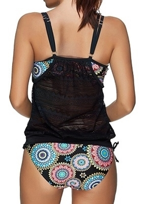 Picture of Retro Black Mesh Print 2 piece Swimwear