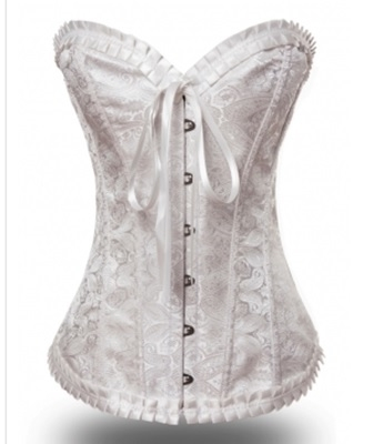b9a26a79c65 ... Picture of Sexy Floral Dot Lace Satin Boned Corset - Cream  off white