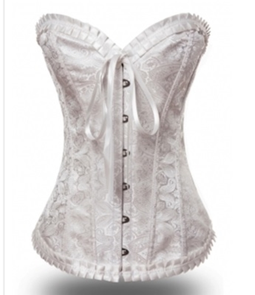 Picture of Sexy Floral Dot Lace Satin Boned Corset - Cream/ off white