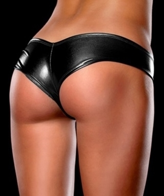Picture of Black metallic half cut panties.