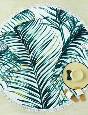 Picture of Jungle Print Fringe Trim Round Thick Beach Blanket - Green floral