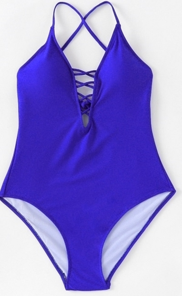 Picture of Criss Cross Plunge Neckline Swimsuit - Blue