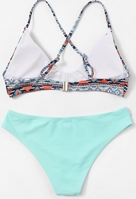 Picture of Tribal Print Criss Cross Cut Out Cheeky Bikini Set