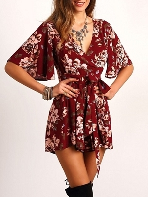 Picture of Red V Neck Floral Tie Waist Jumpsuit