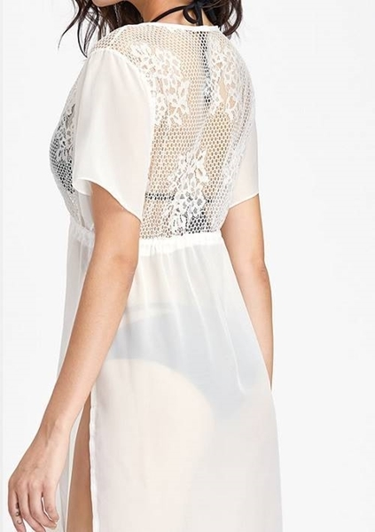 Picture of Lace Crochet Detail Chiffon Cover Up