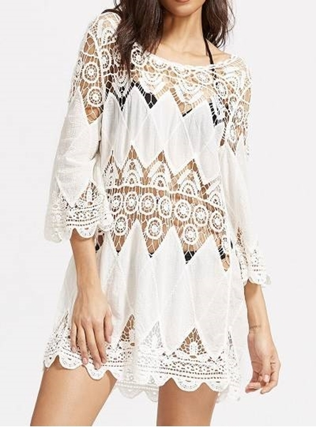9dc48f3e122 Picture of Crochet Hollow out Scallop Hem Cover Up Dress - White