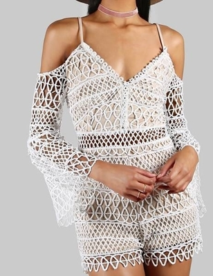 Picture of Crochet Cold Shoulder Romper IVORY