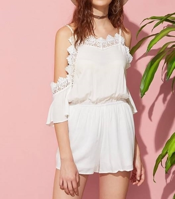 Picture of Flutter Sleeve Lace Trim Elasticized Waist Playsuit
