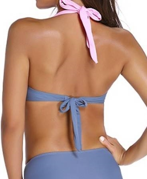 Picture of Wide Strap Colour Block High waist Bikini TOP - Dark Grey/Pink