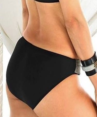 Picture of Wide Banded Colour Block Bikini BOTTOM - Black/Dark Grey