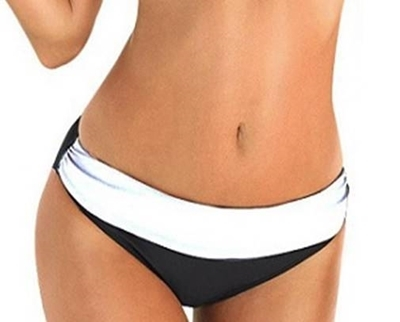 Picture of Wide Drape Colour Block Bikini BOTTOM - Black/White