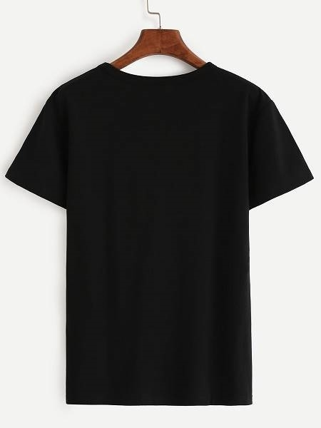 Picture of Black Letter Print T-shirt