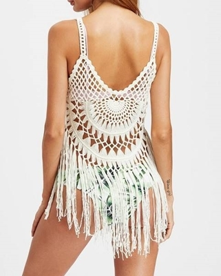 Picture of Fringe Trim Crochet Cover Up