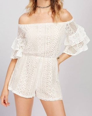 Picture of Bardot Layered Bell Sleeve Lace Playsuit